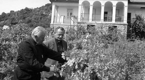 Szűcs István plébános és Bendász Dániel esperes a kúria szőlőjében