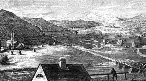 A podheringi csata színhelye (Rohn kőmetszete 1854-ből. Skultéty Csaba gyűjteményéből)