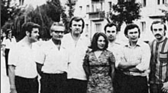 Balról jobbra: S. Benedek András, Kovács Vilmos, Szakolczay Lajos (Budapestről), Borbély Edit, Fodó Sándor, Balla Gyula, Zselicki József 1973-ban