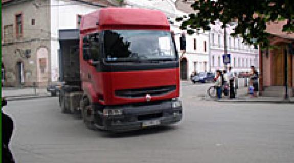 Kamion a centrumban
