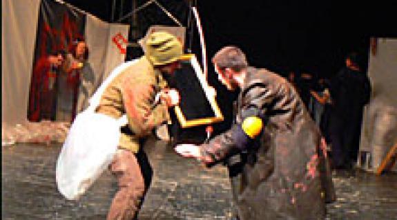 Sancho Panza (Rácz József) és Don Quijote (Ivaskovics Viktor)