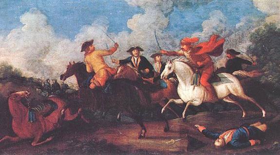 Kuruc és labanc lovasok összecsapása