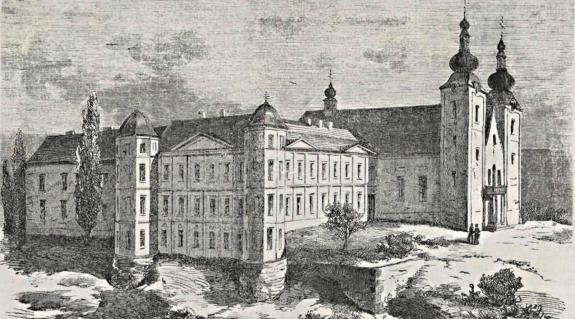 Az ungvári püspöki rezidencia (Forrás: Zombory Gusztáv: Az ungvári g. e. püspöki lak és főegyház. Vasárnapi Újság, 1863. 20. sz. 173.)