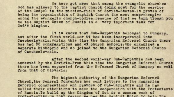 Ravasz László levele a Baptista Unió elnökének (forrás: MRE ZSL, 2f. F., 41. d., 1947/1485. 6.)