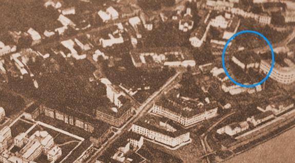 A famegmunkáló iskola egy 1931-es légifelvételen
