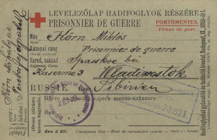 A Vlagyivosztokból hazaküldött vöröskeresztes levelezőlap