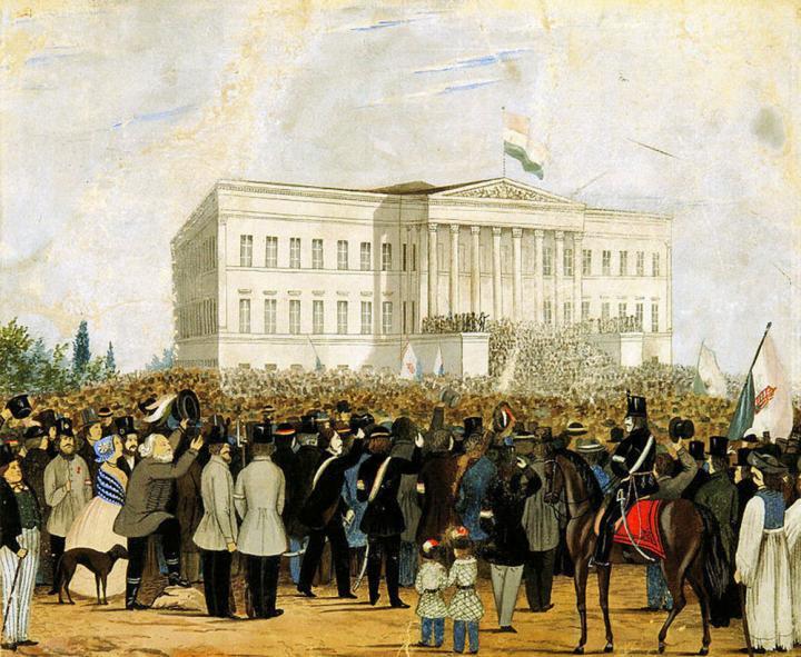 1848. március 15. – tüntetés a Nemzeti Múzeum előtt