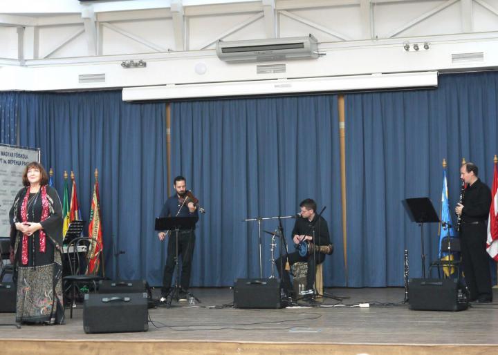 A Chagall Klezmer Band és Havas Judit előadása a Rákóczi-főiskolán