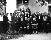 Együtt a régi és az új generáció. Görög katolikus papi gyűlés 1990-ben Lelekács János lakásán. Középen Margitics Iván, Szemedi János és Halavács József püspökök