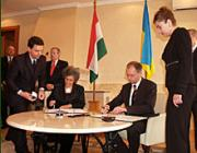 Göncz Kinga magyar külügyminiszter és vendéglátója, Arszenyij Jacenyuk ukrán külügyminiszter